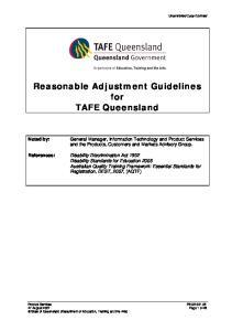 Reasonable Adjustment Guidelines for TAFE Queensland
