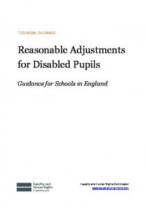 Reasonable Adjustments for Disabled Pupils