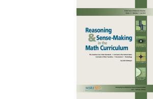 Reasoning. Sense-Making. Math Curriculum. in the