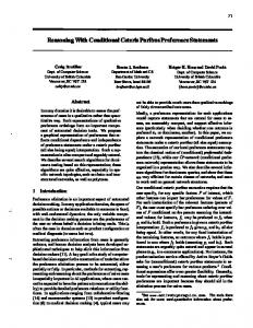 Reasoning With Conditional Ceteris Paribus Preference Statements