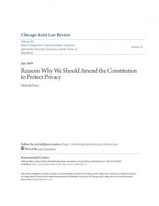 Reasons Why We Should Amend the Constitution to Protect Privacy