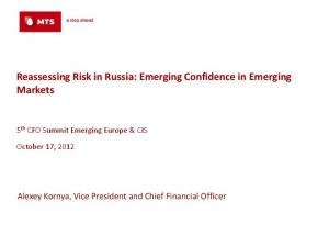 Reassessing Risk in Russia: Emerging Confidence in Emerging Markets