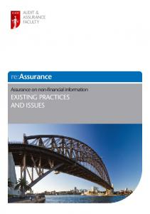 re:assurance Assurance on non-financial information EXISTING PRACTICES AND ISSUES