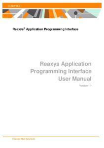 Reaxys Application Programming Interface User Manual