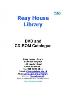 Reay House Library. DVD and CD-ROM Catalogue