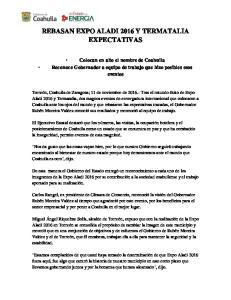 REBASAN EXPO ALADI 2016 Y TERMATALIA EXPECTATIVAS