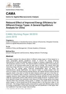 Rebound Effect of Improved Energy Efficiency for Different Energy Types: A General Equilibrium Analysis for China