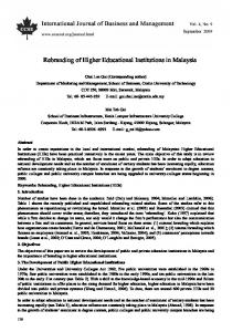 Rebranding of Higher Educational Institutions in Malaysia
