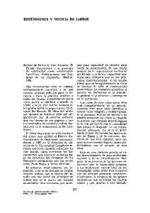 RECENSIONES Y NOTICIA DE LIBROS