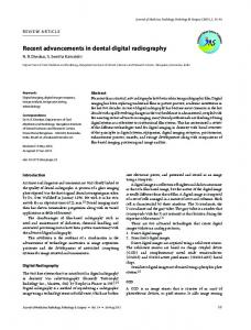 Recent advancements in dental digital radiography