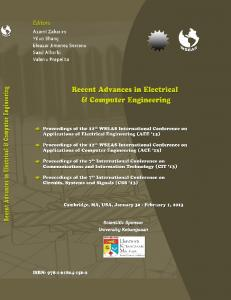 RECENT ADVANCES IN ELECTRICAL AND COMPUTER ENGINEERING