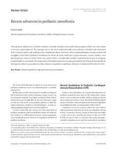Recent advances in pediatric anesthesia