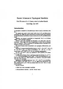 Recent Advances in Topological Manifolds
