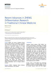 Recent Advances in ZHENG Differentiation Research in Traditional Chinese Medicine