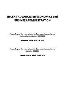 RECENT ADVANCES on ECONOMICS and BUSINESS ADMINISTRATION