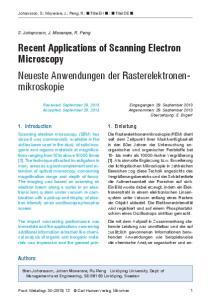 Recent Applications of Scanning Electron Microscopy Neueste Anwendungen der Rasterelektronenmikroskopie