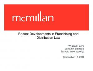 Recent Developments in Franchising and Distribution Law