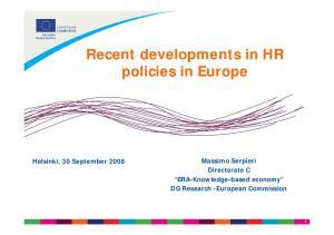 Recent developments in HR policies in Europe