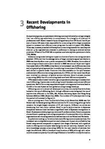 Recent Developments in Offshoring