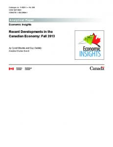 Recent Developments in the Canadian Economy: Fall 2013