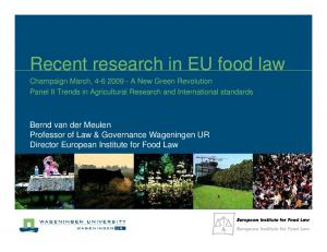 Recent research in EU food law