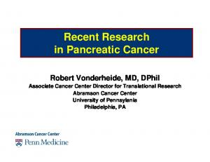Recent Research in Pancreatic Cancer