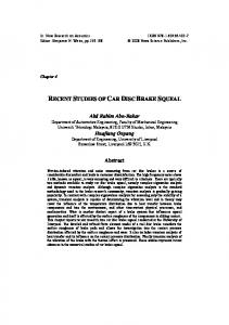 RECENT STUDIES OF CAR DISC BRAKE SQUEAL