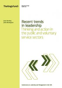 Recent trends in leadership Thinking and action in the public and voluntary service sectors