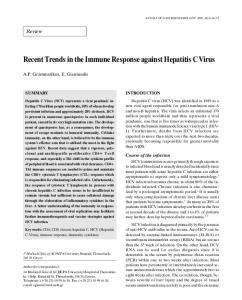 Recent Trends in the Immune Response against Hepatitis C Virus