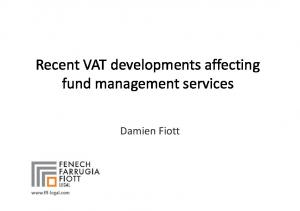Recent VAT developments affecting fund management services