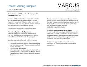 Recent Writing Samples