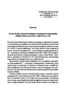 Recenzja. Dariusz Dudek, Autorytet Prezydenta a Konstytucja Rzeczypospolitej Polskiej, Wydawnictwo KUL, Lublin 2013, s. 340