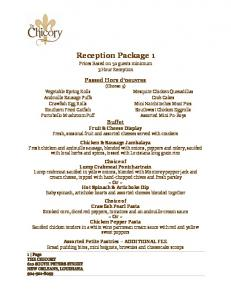 Reception Package 1. Prices Based on 50 guests minimum 3 Hour Reception. Passed Hors d oeuvres