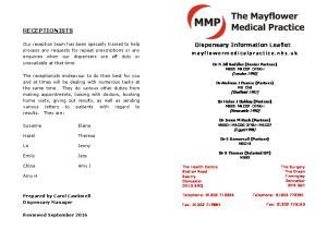 RECEPTIONISTS. Dispensary Information Leaflet
