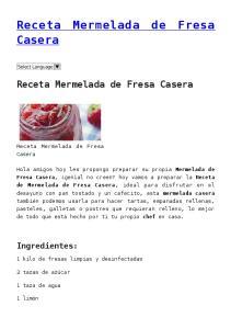 Receta Mermelada de Fresa Casera