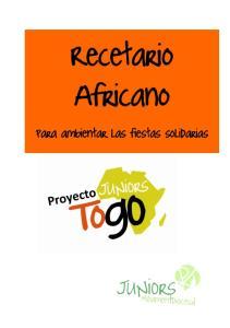 Recetario Africano. Para ambientar las fiestas solidarias