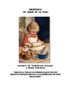 RECETARIO EL SABOR DE LA VIDA