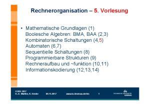 Rechnerorganisation 5. Vorlesung