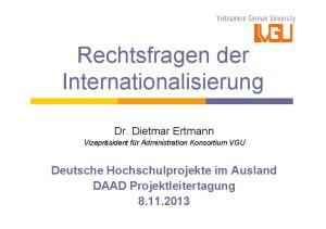 Rechtsfragen der Internationalisierung