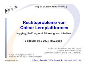 Rechtsprobleme von Online-Lernplattformen