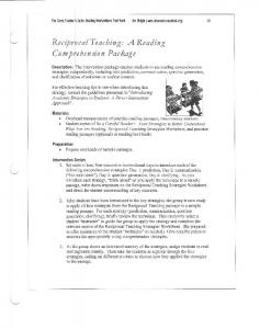 Reciprocal Teaching: A Reading