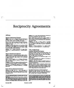 Reciprocity Agreements