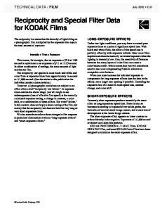 Reciprocity and Special Filter Data for KODAK Films