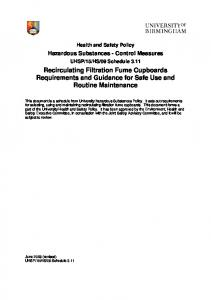 Recirculating Filtration Fume Cupboards Requirements and Guidance for Safe Use and Routine Maintenance