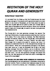RECITATION OF THE HOLY QURAN AND GENEROSITY