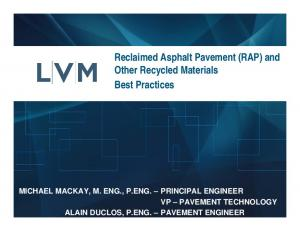 Reclaimed Asphalt Pavement (RAP) and Other Recycled Materials Best Practices