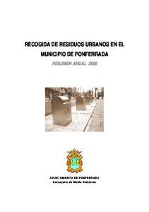 RECOGIDA DE RESIDUOS URBANOS EN EL MUNICIPIO DE PONFERRADA