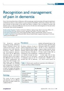 Recognition and management of pain in dementia