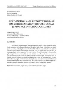RECOGNITION AND SUPPORT PROGRAM FOR CHILDREN TALENTED FOR MUSIC AT JUNIOR AGE OF SCHOOL CHILDREN