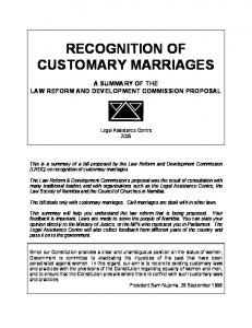 RECOGNITION OF CUSTOMARY MARRIAGES